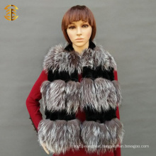 Black and Gray Fox Fur Scarf Fox Rabbit Fur Collar For Women