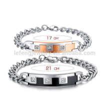 Diamante grueso romántica de metal su y su pulsera, pulseras de relación para él y ella