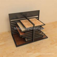 Pavimentação Black Metal Wood Tile Display Rack, Custom Wall Tile Sliding Tile Display Rack