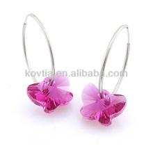 925 стерлингов серебряный обруч серьги бабочки форме розовый кристалл серьги камень