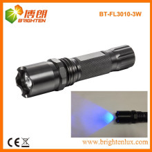 Factory Supply 3watt Aluminum 365nm-370nm Bright Power Ultraviolet UV led Black Light Flashlight For Counterfeit Money