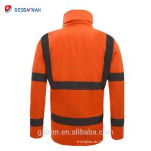 Wasserdichte Visier-Winter-Sicherheits-Jacke mit reflektierenden Streifen, hoher Sichtbarkeits-mit Kapuze Regenmantel-Arbeitskleidung Parka
