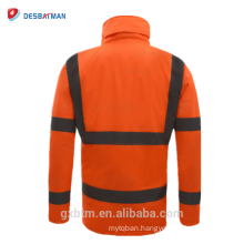 Waterproof Hi Vis Winter Safety Jacket With Reflective Stripes,High Visibility Hooded Raincoat Workwear Parka