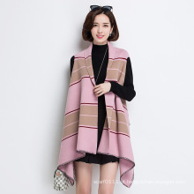 Mulheres moda listrado viscose nylon malha colete xale (yky4525)