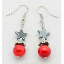 Boucle d'oreille hématite Red Coral Star Beads