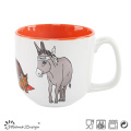 14oz Ceramic Soup Mug Two Tone with Decal Printing