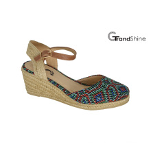 Women′s Raffia Espadrille Wedge Sandals