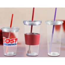 Plastic Eco Cold Drink Cups with Double Wall Structure and Reusable Straw