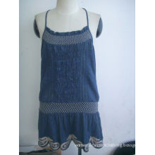 Bule Cotton Womens Casual Summer Dresses With Computer Embroidery