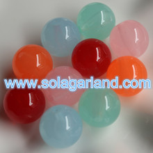 19MM & 24MM Acrylic Round Chunky Beads Translucent Spacer Half Hole Drilled Beads