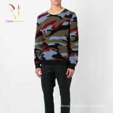 Suéter tricotado de cashmere jacquard de algodão masculino