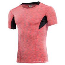 5 cor elástica apertado manga curta homens Fitness & Sports T-shirt