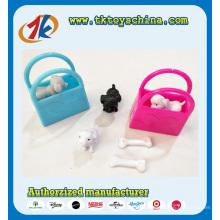 Lustiges Mini-Plastikwelpen-Spielzeug mit bunten Taschen