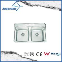 Pia de cozinha de aço inoxidável de dois níveis de alta qualidade (ACS7952M)