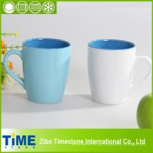 Tazas de café en blanco del color sólido del gres de cerámica (7106c-006)