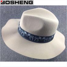 Lã Vintage Felt Fedora Wide Brim Hat Cap