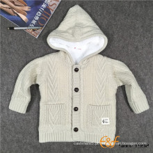 Winter Double Layer Hooded Cable Cardigan Warm Sweater for Baby Boy