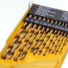 13PCS Tin Coated HSS Twist Drill Bit Set in Plastic Box