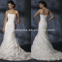 Без бретелек бисероплетение лиф русалка свадебное платье/вечернее платье
