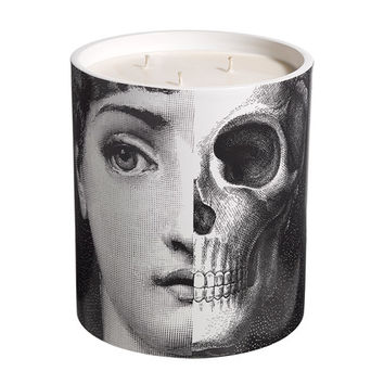 portrait scent candles in ceramic container with roof lid