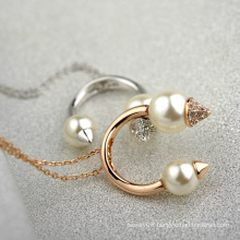 Best Design Pearl necklace jewelry high end costume pearl and crystal happy arch necklace jewelry