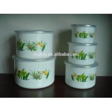 3/5 conjuntos tigela de gelo alta com revestimento de flor PE tampa