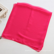 Women Mei Red Pure Color Polyester Chiffon Scarf Shawl