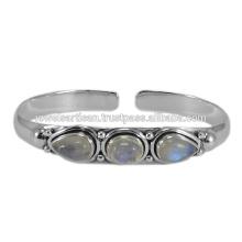 La última piedra de la piedra preciosa del diseño Moonstone 925 del arco iris de la plata esterlina joyería
