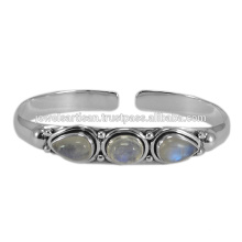 Latest Design Rainbow Moonstone Gemstone 925 Sterling Silver Bangle Jewelry