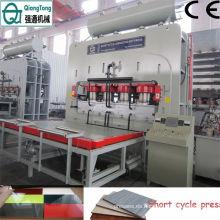 Panel decorativo de chapa de múltiples capas de máquina de prensa caliente