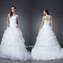 Masterpiece Detachable Strap White A Line Strapless Horsehair Trimmed Skirt Court Train Sequin Wedding Dress Bridal Gown