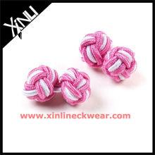 Boutons de manchette personnalisés rose et blanc élastique importés de noeud de soie