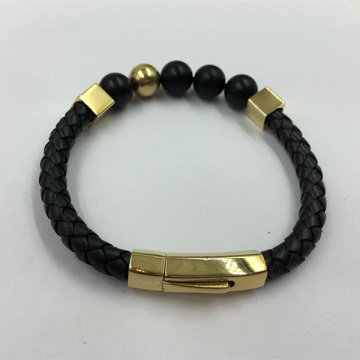 Good Quality for Natural Stone Bead Bracelet Black Braided Leather Bracelet Bead Cubic Mens Bracelet export to Poland Factories