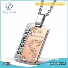 2016 wholesale price engraved jewelry rose gold and black square engrave stainless steel necklace for couples