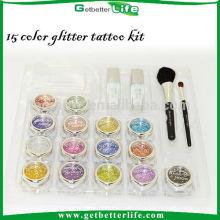 Getbetterlife temporárias por atacado tatuagem rosto tinta glitter kit tatuagem, 15 conjunto de cores corpo arte tatuagem do brilho