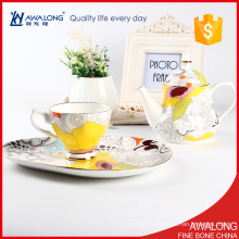 romantic drinkware tea set / bottle-shaped afternoon tea pot with tray / fine bone china tea pot set