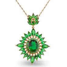 Luxury Green Stone Design Fashion Jewelry Pendant Necklace for Gift