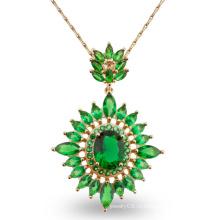 Роскошный зеленый камень дизайн моды ювелирные изделия кулон ожерелье для подарка