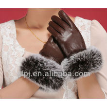 noble leather glove with fox fur cuff