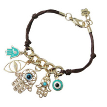 Evil Eye y Fatima Hand on Leather Thread Bracelet (XBL13491)