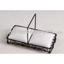Forma cuadrada de sal y pimienta de cerámica con estante JX-SP515