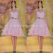 Lovely Pink Short A-Line Wedding Dress 2014 Sweetheart Knee-length Flowers Applique Garden Bridal Gown NB0626