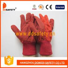 Guante de algodón rojo de polka guante de trabajo (dcd202)