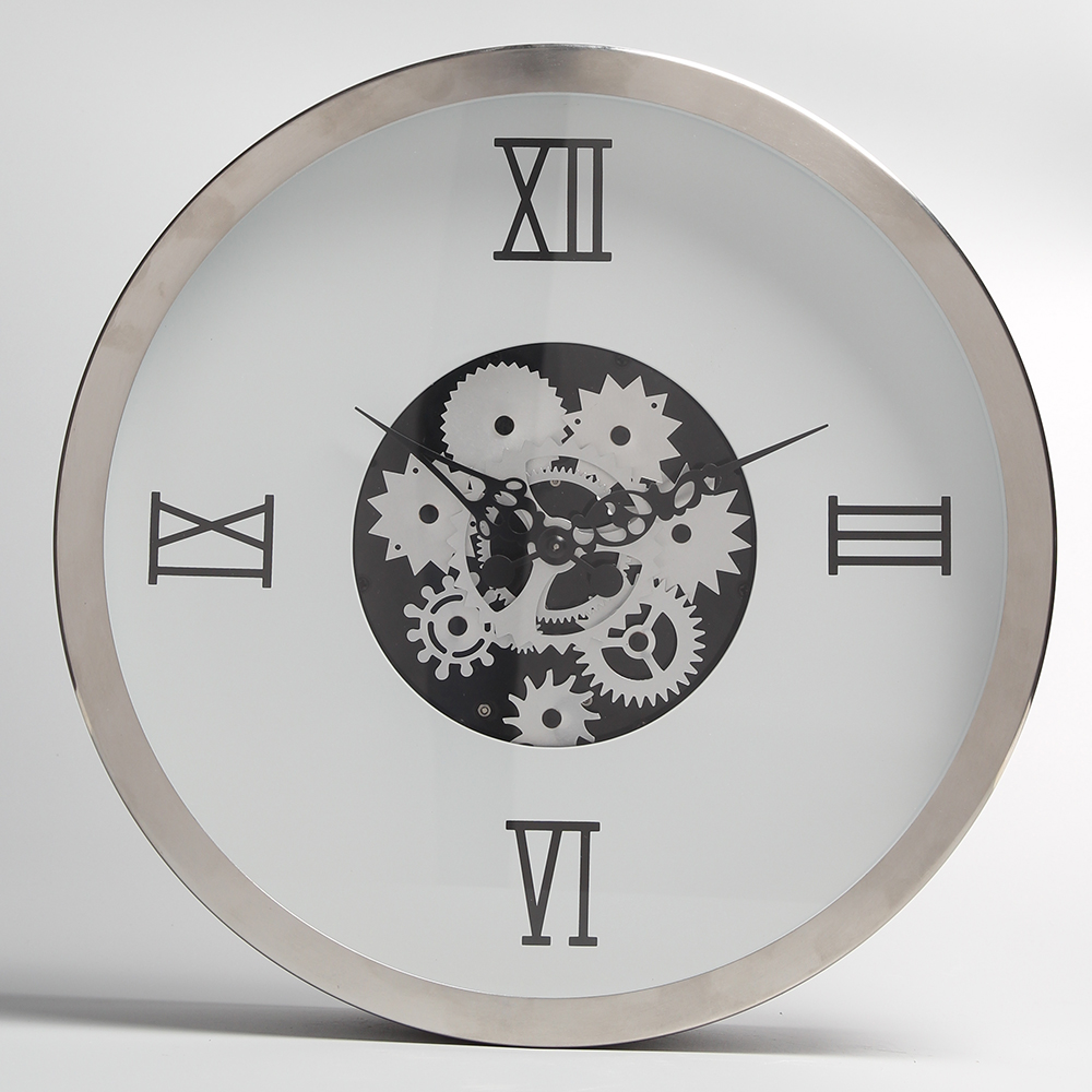 White Metal Wall Clock with Moving Gears
