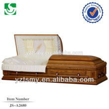 Brown embroidered interior cardboard cremation casket
