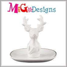 Porte-bague en céramique exquise de vente chaude avec la conception de cerf