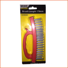 170mm Red Colour Handle Steel Wire Brush (YY-580)
