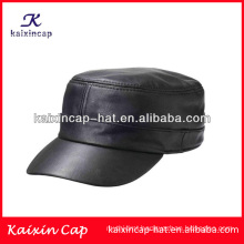 wholesale military cadet hats/manmade leather flat top army caps/high quality military cap with you own design