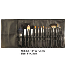 15pcs black plastic handle animal/nylon hair makeup brush tool set with black satin fold case