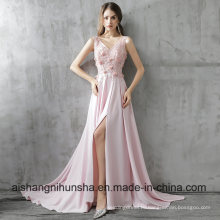 New Luxury Pink Satin Long Evening Dress
